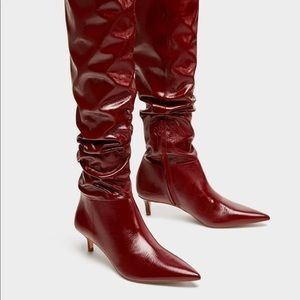 ZARA Leather Over The Knee High Heel Boots